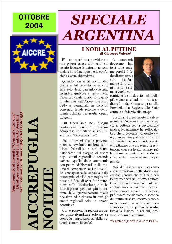 AICCREPUGLIA Notizie ottobre 2004