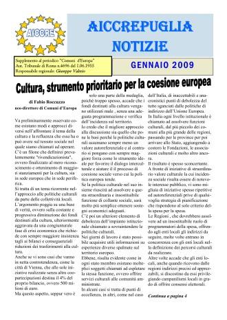 NOTIZIARIO GENNAIO 2009