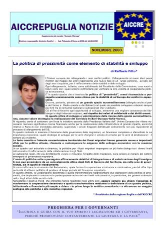 NOTIZIARIO NOVEMBRE 2003