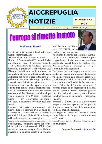 NOTIZIARIO NOVEMBRE 2009