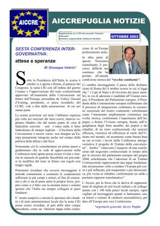 NOTIZIARIO OTTOBRE 2003