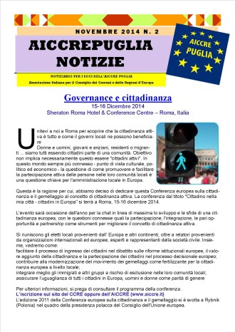 NOTIZIARIO AICCREPUGLIA NOVEMBRE 2014 n. 2