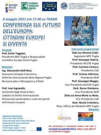 convegno 6 maggio 2021 su conferenza sull'europa